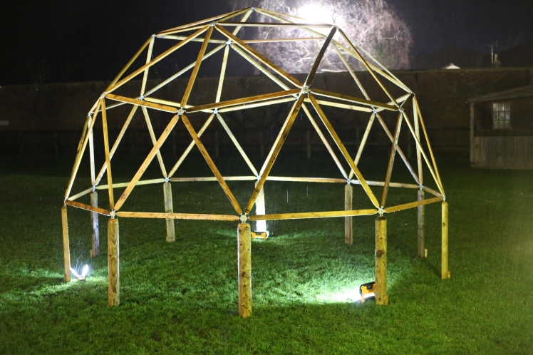 Geodesic dome at night