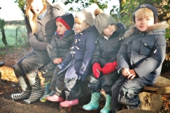 Nursery camp fire and hot chocolate