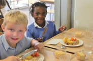 Year 1 getting used to the servery at lunchtime