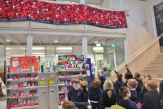 Year 1 visited Fitzjames to see the poppy collage
